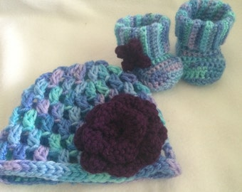 Crochet Baby Hat and Booties, Blue and Purple, Newborn