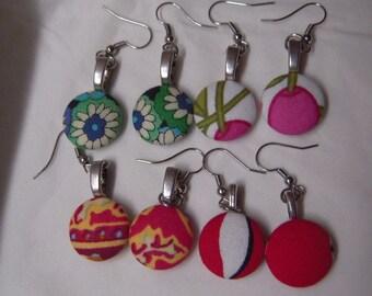 Sweet fabric cabochon earrings