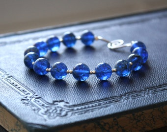 Golden River Bracelet - Deep Dark Blue Glass Beaded Sterling Silver Bracelet, Handmade Jewellery by Ikuri immortelle, FREE SHIPPING