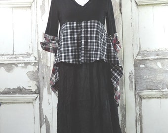 Mori Girl Top, Black Sweater, Plaid Flannel, Hi Low Top, Upcycled Clothing, Gypsy Style, Eco Fashions, Boho Chic, Tunic Top