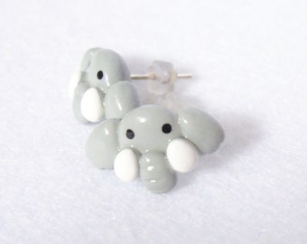 Little Gray Elephant Earrings - Handcrafted Polymer Clay Jewelry - Silver Plated, Nickel Free, Lead Free Post Earrings