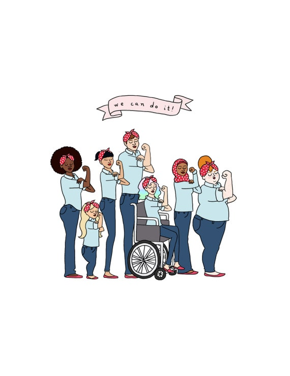 Intersectional Rosie the Riveter Print - Hand-Illustrated