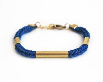 Cobalt blue bracelet with tubes, minimalistic stackable bracelet, knit cord bracelet, cotton rope bracelet, blue and gold