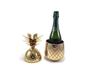 """LARGE 11 1/2"""" Tall Vintage Brass Pineapple Container - Gold Champagne Wine Ice Bucket Bar Cart Accessories - Hollywood Regency Mid Century"""