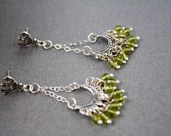 Silver Chandelier Earrings, Green beads wire wrapped, Sterling silver jewelry