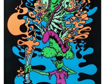 Choke Attack Blacklight Poster