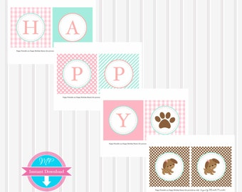 Puppy Party Instant Download Happy Birthday BANNER by Marbella Printables