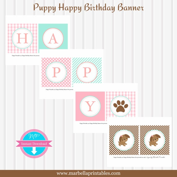 Puppy Party Instant Download Happy Birthday BANNER By Marbella