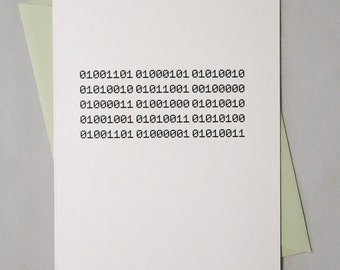 Merry Christmas Geeky Binary Code Card / Christmas Card for Computer Nerds, Coders, Software Engineers