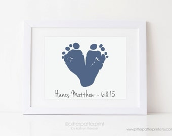 Baby Footprint Art Print, New Child Gift for Parents Keepsake, Custom Nursery Decor Personalized with Your Child's Feet, 5x7 UNFRAMED