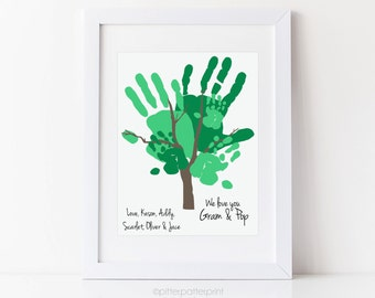 Grandparents Gift Handprint Tree Art, Alternative Family Portrait, Personalized with your Family's Hands, 11x14 inches UNFRAMED
