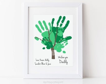 Father's Day Gift for Dad, Handprint Tree Art from Kids, Chidlren, Personalized with your Family's Hands,  11x14 inches UNFRAMED