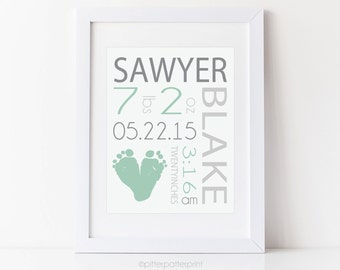 Mint Nursery Birth Announcement Wall Art, Baby Name Print, Personalized Footprint Art, 8x10 inches Your Child's Feet UNFRAMED