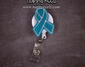 Cervical Cancer Ovarian Cancer Awareness Teal and White Ribbon ID Badge Holder Clip Retractable For Nurses Business Women Badge holder