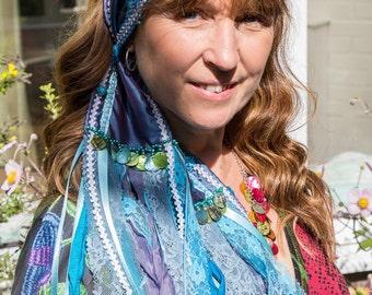 Blue Taffeta Stunning Bohemian Gypsy Alternative Festival Bandana Scarf