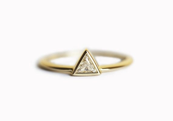 yellow gold engagement ring triangle by