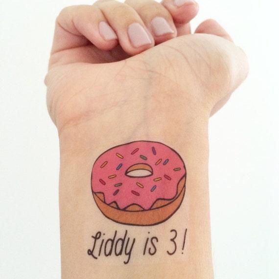 15 custom donut temporary tattoos for Custom temp tattoos