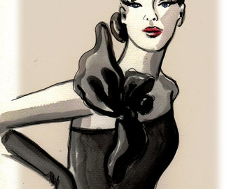 Linda, Fashion Ilustration, print, poster