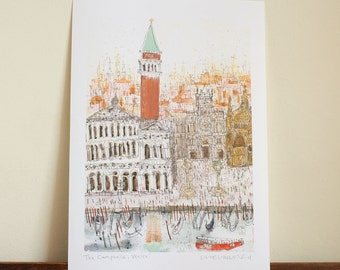 sale 15% VENICE ART PRINT, The Campanile Italy Watercolor Painting, Signed Giclée Print, Venice Drawing, Piazza San Marco, St Marks Square