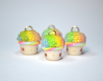 Rainbow Snow Cone Cupcake Charm - Kawaii Miniature Food Polymer Clay