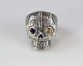 Handmade Sterling Silver Sugar Skull Ring with Amethyst and Citrine Eyes