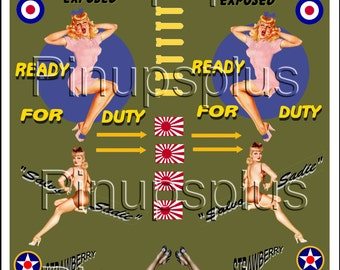 PinUp Decal Waterslide Nose Art Bomber Art WWII Decal backed by Olive Drab No. 334