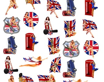 Sexy Pinup Girl British Flag Car Phone Booth Shield Pinup Waterslide Decal No. 340