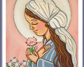 Our Lady print Virgin Mary art Virgin Mary paintings Our Lady painting Pink rose First communion gift Christian wall art Girl baptism gifts