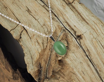 Sterling Silver Pendant/Necklace Green Aventurine Pendant/Necklace - 13mm x 18mm Natural Green Aventurine with a Sterling Silver Setting