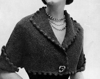 Cropped Short-Sleeved Jacket Pattern - Vintage Knitting - PDF instant download - Mid-Century