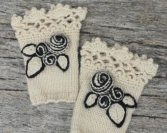 Knitted Fingerless Gloves, Ivory, Roses, Gloves & Mittens, Gift Ideas, For Her Accessories, Winter Accessories,