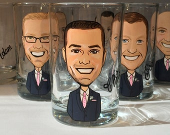 Six Groom, Groomsmen, Best Man Caricature shot glasses