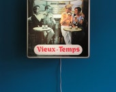 Vintage Wall hanging Lamp  Light Sign Advertisement Ad Board from special Belgium Beer Advertising Vieux Temps 1970s