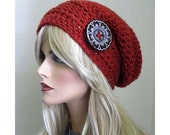 Boho Chic Slouchy Beanie, Rust Red Slouch Hat, Women's Slouchy Hat, Bohemian Fashion, Hippie Hat, Hat With Button, Teen Hat, Women's hats