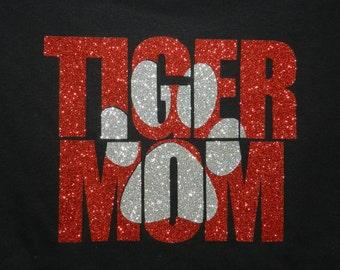 2 Tone TIGER  MOM Glittler~Bling~T Shirt school spirit