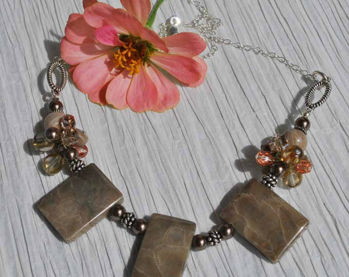 Petoskey Stone necklace on Sterling Silver chain, Up North Michigan, Michigan necklace