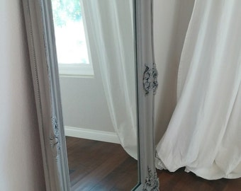 SOLD TO MELISSA  -  Gorgeous Large Ornate French Country Grey Mirror-Shabby Chic Mirror-Bedroom, Living room Statement Piece