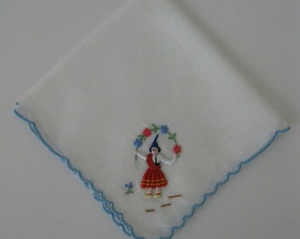 Vintage Child's Handkerchief - Blue Scalloped Edge Trim - 8.5 x 9