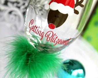 Holiday wine glass - Christmas wine glass - Getting Blitzened - Funny wine glass - unique wine glass - Holiday Gift - Christmas Gift