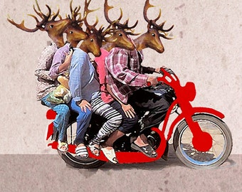 Hipster Deer, Deer Art, Deer Print,  Antler, Stag, Deer Art Print, Deer Artwork, Wall Decor, Wall Art, Deer Wall Hanging,Motorbike,Men,Weird