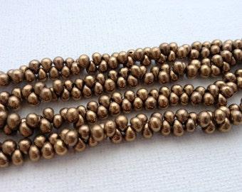 3.4mm Miyuki Drop Fringe Metallic Dark Bronze Glass Beads 20g