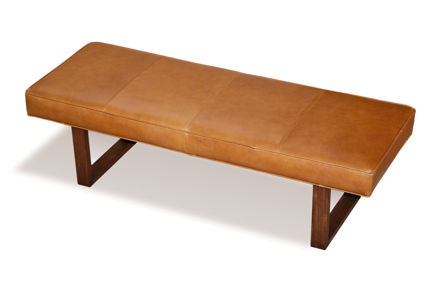 Distressed Brown Genuine Leather Upholstered Bench Ottoman