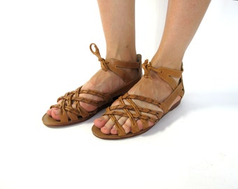 Vintage braided leather lace up sandals