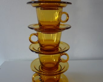 Set of 5 Vereco France Amber Espresso Cups and Saucers