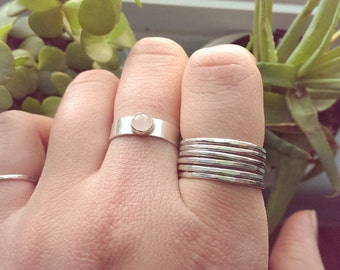 Sterling Silver Stacking ring | Silver stacking ring | Sizes 2-11.5 | hammered stacking ring | Silver ring set