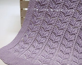 Organic Baby Blanket: Heirloom Quality Leaf Lace Hand Knit