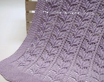 Beech Leaf Knitting Pattern : Organic Baby Blanket: Heirloom Quality Leaf Lace Hand Knit