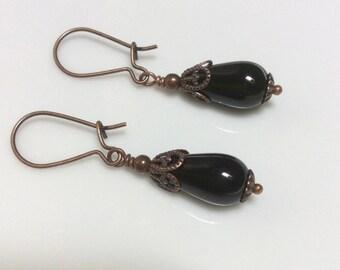 Black Glass Earrings  Bohemian Earrings Copper Earrings  Boho Earrings  Glass Dangle Earrings  Gypsy Dangles