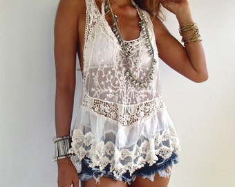 Sheer Lace Tank Top /Boho Lace Top/ Romantic Lace top/Swim suit cover up. Could be worn for many occasions!