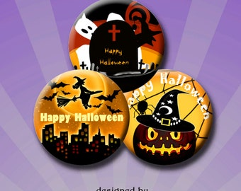 HALLOWEEN - Digital Collage Sheet 1 inch round images for bottle caps, pendants, round bezels, scrap-booking etc. Instant Download #224.